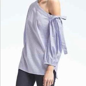 Banana Republic one shoulder poplin blouse